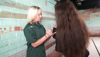 Taboo lesbian encounter with a blond-haired inmate
