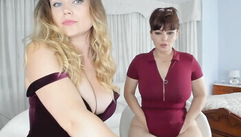 Immersive POV dirty talking video with two chubby babes