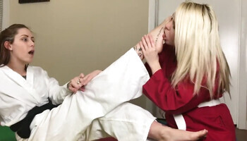 Karate cutie getting her feet licked by the sensei hottie