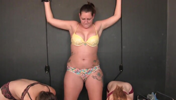 Submissive bonded MILF and two younger ladies
