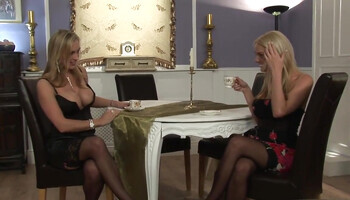 Blond-haired lesbo GFs decide to share a double-sided dildo toy
